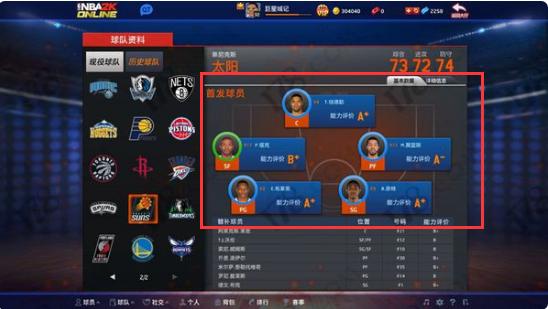 nba2k online怎么将替补球员换为首发